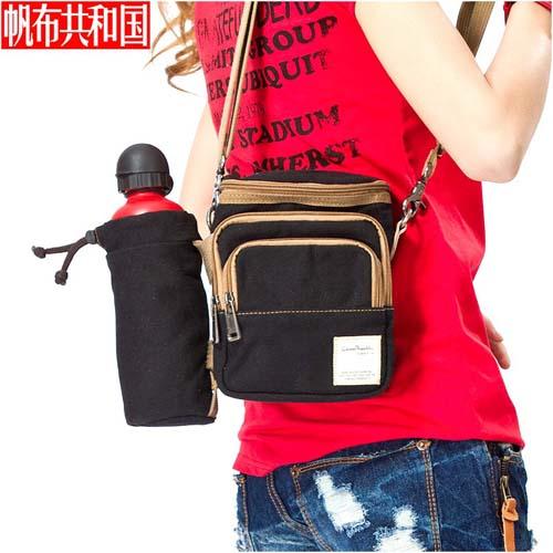 帆布共和國潮男旅行單肩包斜挎運動包水瓶袋腰包斜跨小包