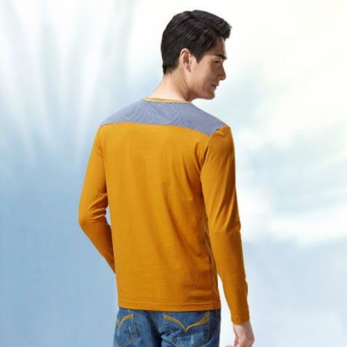 海澜之家春装新品撞色镶拼休闲长袖T恤