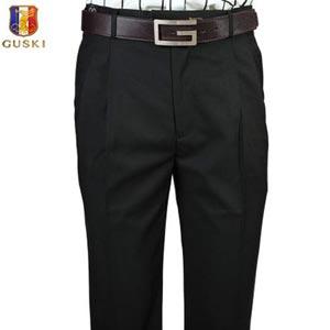 古士旗 夏薄款纯黑 男士西裤正装商务休闲男装双褶西裤