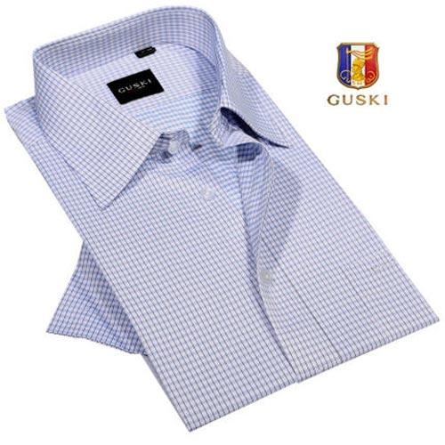 古士旗男装格子短袖衬衫商务时尚休闲衬衣男士短袖衬衫