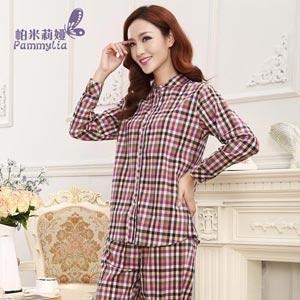 帕米莉娅长袖格子梭织棉睡衣休闲夏季可外穿家居服