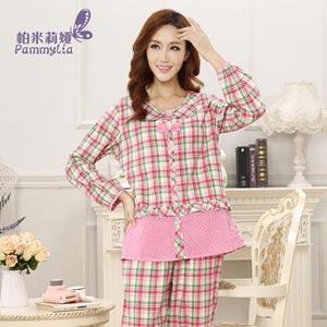 帕米莉娅长袖梭织棉睡衣休闲夏季可外穿家居服