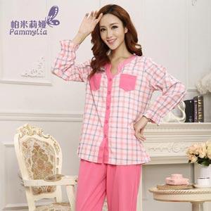 帕米莉娅长袖格子梭织棉睡衣休闲夏季空调房可穿家居服