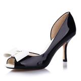 千百度正品女鞋牛漆皮高跟单鞋