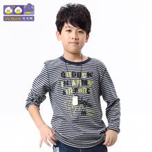 秋装新款男童时尚休闲条纹长袖T恤圆领打底衫
