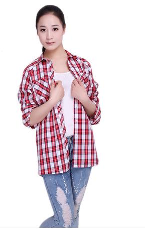 喬家棉依 2013春秋季休閑插肩袖純棉格子女式襯衫