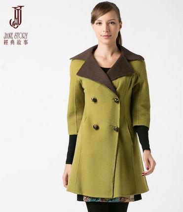 经典故事2013秋冬新品时尚修身双面呢中袖中长款