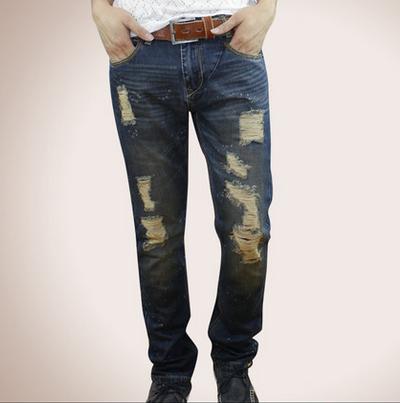 小魔怪牛仔2013秋裝新款男裝牛仔褲破洞牛仔褲男