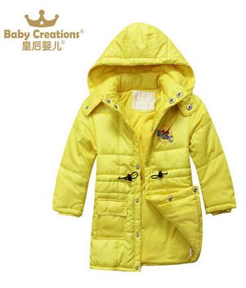 皇后婴儿 冬季男童长款加厚带帽棉服 棉袄 欧美