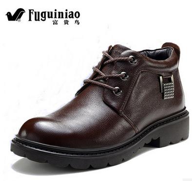 富貴鳥新款休閑男鞋冬季加毛絨棉鞋真皮鞋保暖