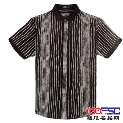 富贵鸟时尚休闲系列男士异色领不规则竖条纹短袖衬衫