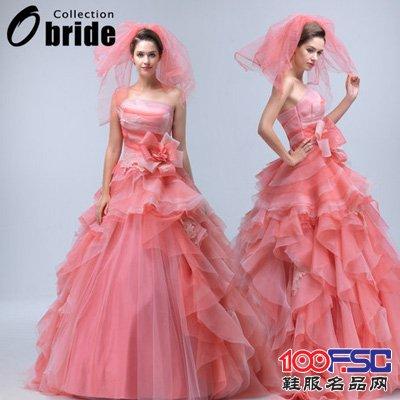 歐泊蕾粉紅婚紗禮服2014新款抹胸蓬蓬優雅花朵婚紗