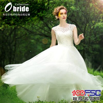 歐泊蕾韓版包肩蕾絲婚紗禮服2014新款齊地公主裙襯大碼婚紗出門紗