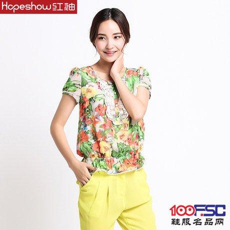 紅袖專柜正品2014夏裝新款 甜美蕾絲印花雪紡上衣