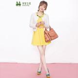 邻家女孩品牌女装黄色连衣裙搭配米色披肩短外套小西装
