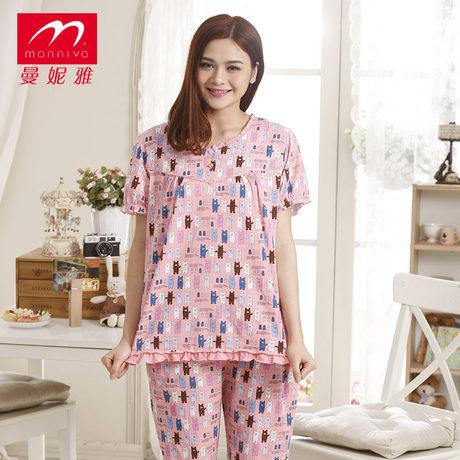 曼妮雅家居服睡衣春夏100%纯棉可爱卡通甜美时尚女睡衣套装