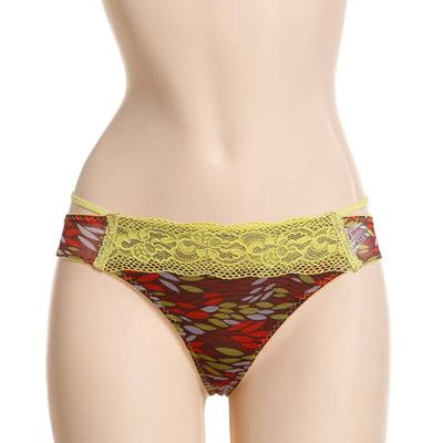 曼妮芬黃綠色性感印花丁字內褲