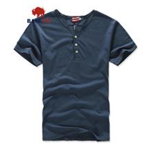 BaseRevolu男士开领半袖纯棉门筒领修身T恤