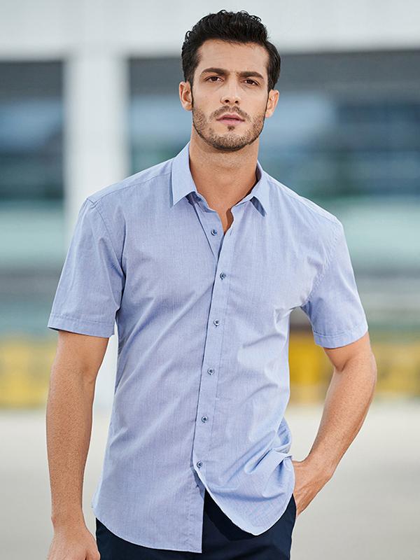杉杉夏季新品方领全棉短袖衬衫
