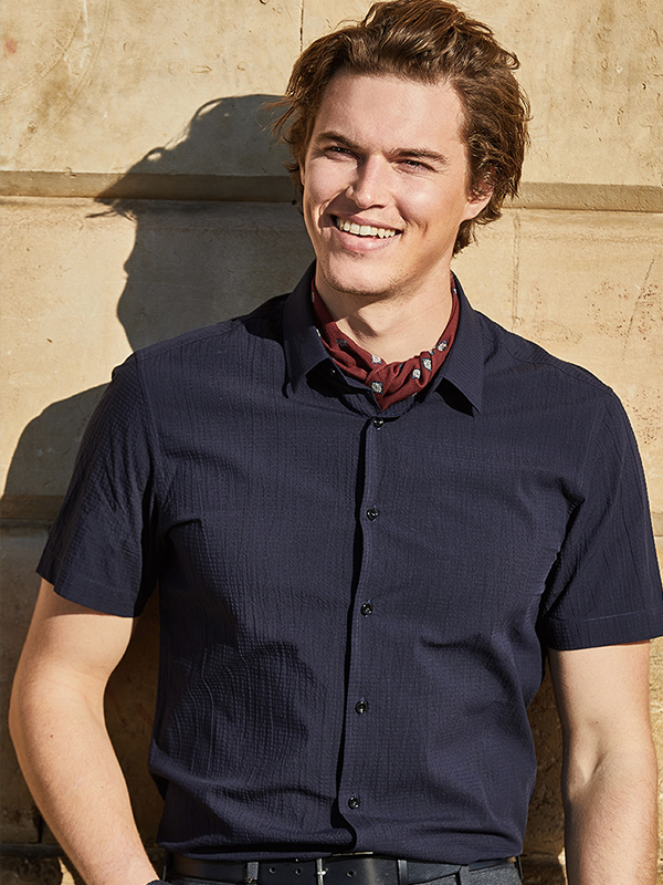 九牧王时尚休闲格子短袖衬衫