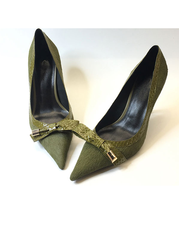 K牌馬毛拼蛇皮尖頭單鞋?女鞋