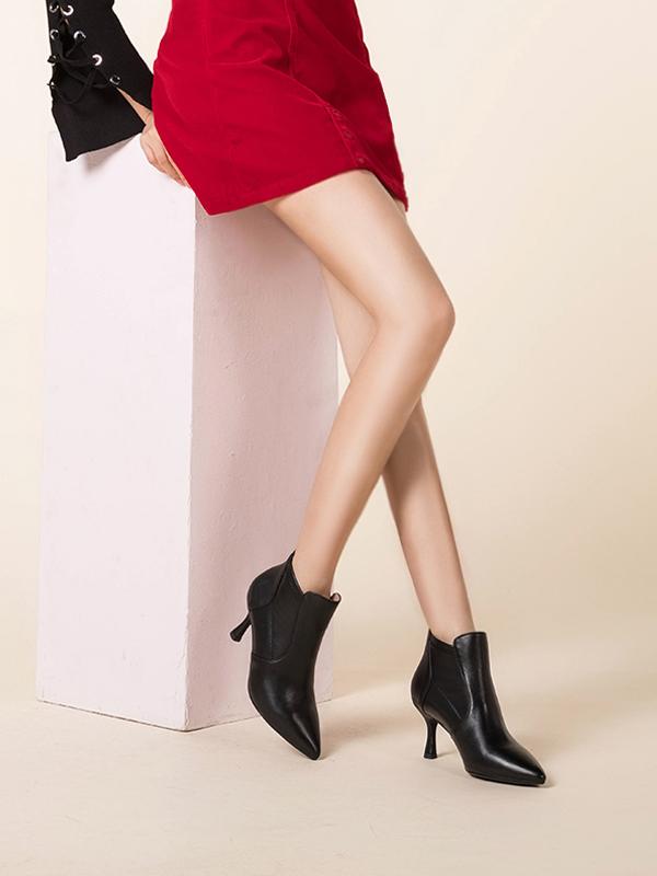 菲伯丽尔2019冬季新款时尚尖头细跟短靴女鞋