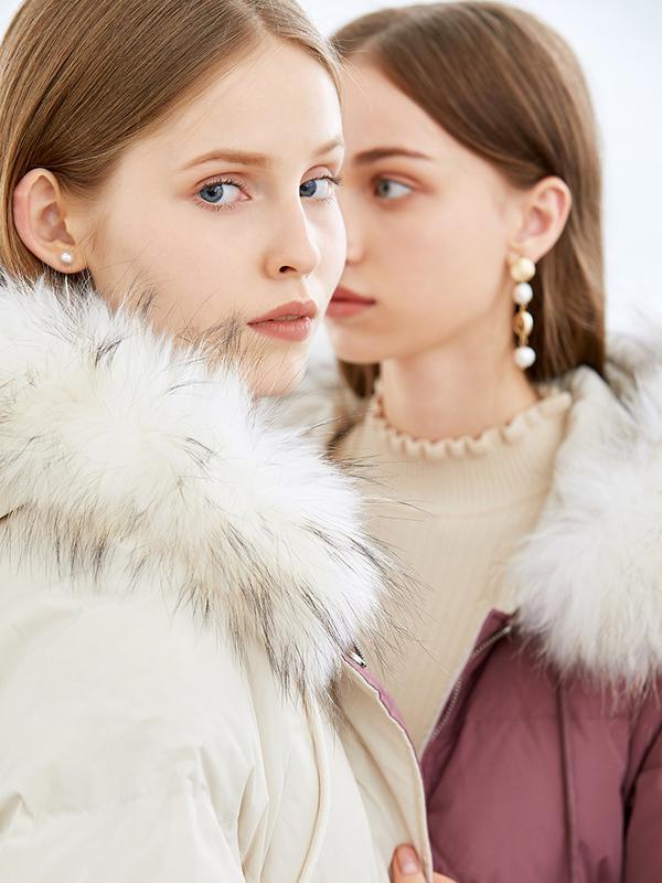 朵以2019冬装蓬松撞色大毛领加厚保暖宽松羽绒服