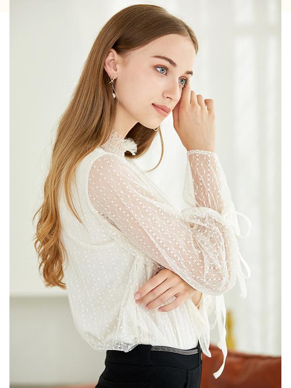 朵以2019冬装新款优雅花边小立领蕾丝打底衫灯笼长袖