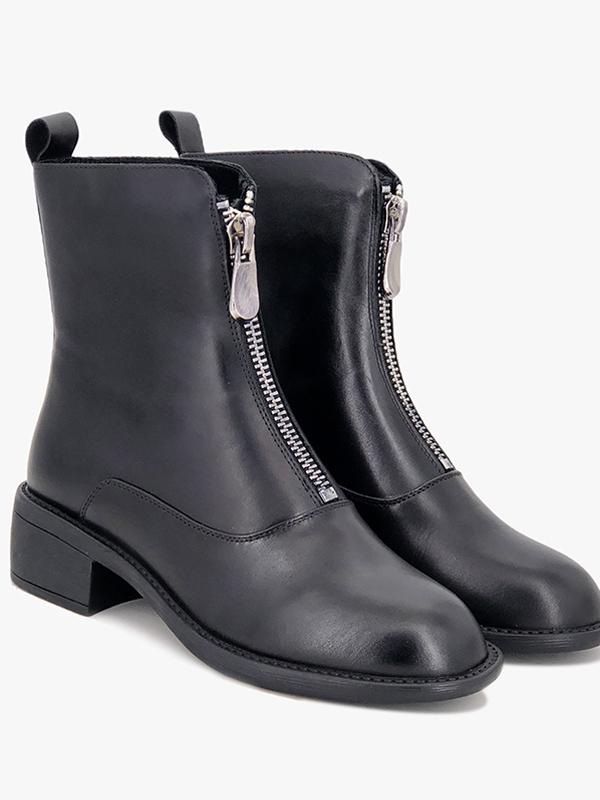 依迪夫人真皮馬丁靴新款網紅前拉鏈短靴