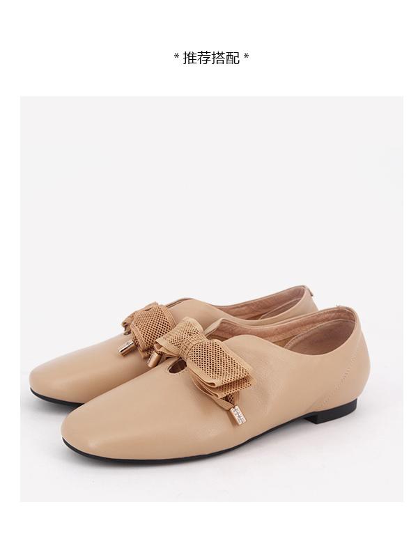 依迪夫人春季新款牛皮時尚圓頭平跟女鞋