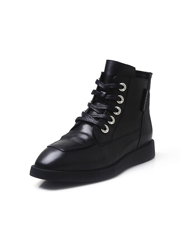 依迪夫人冬季新品牛皮面圓頭拉鏈時尚馬丁靴