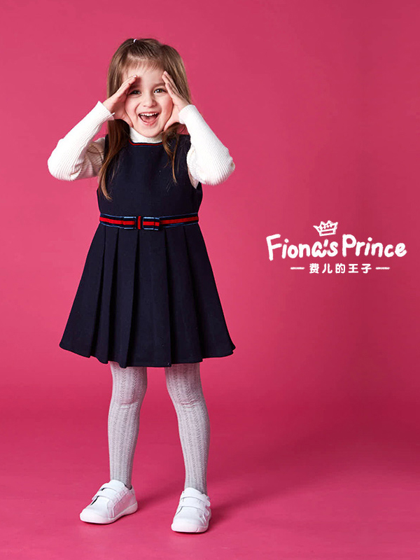 費兒的王子19秋冬新款英倫學院風無袖女童連衣裙