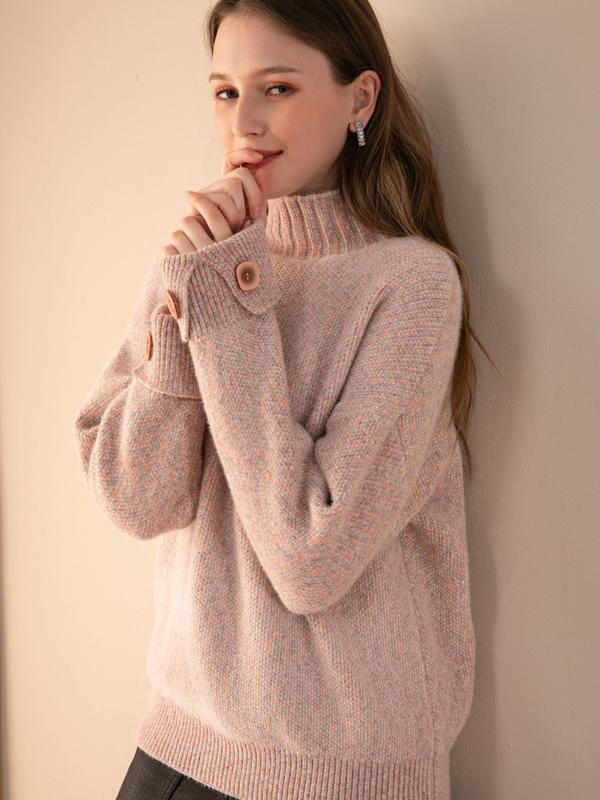 摩奧女裝2019年冬季新款立領寬松針織毛衣