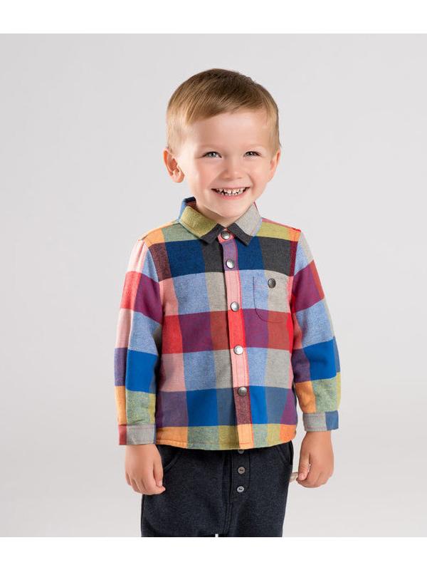 戴維貝拉2019冬季新款男童加絨格子襯衫